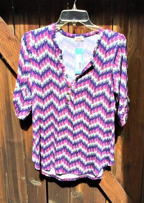 Stitch Fix October 2015 Pixley Edmond Chevron Print Henley Shirt